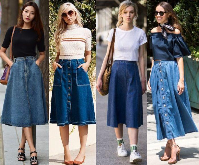 джинсовая юбка - миди, фото