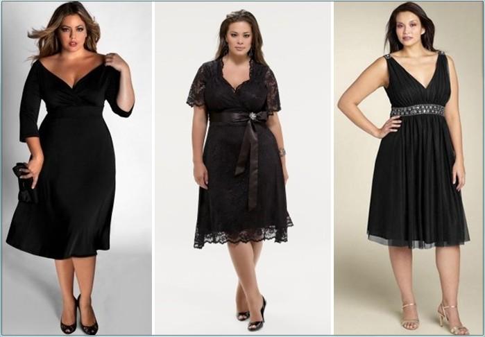 Модели черного платья для полных