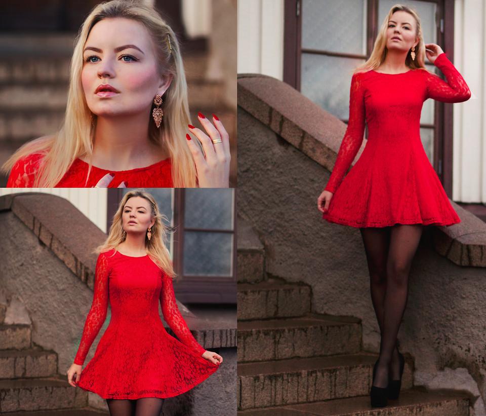 Красное платье с красным поясом фото
