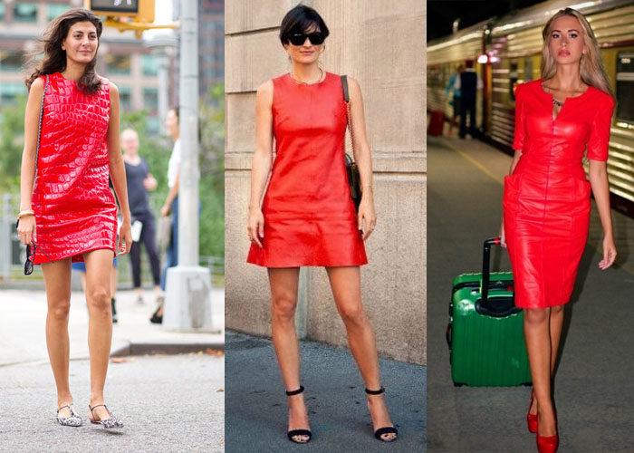 кожаное красное платье, фото