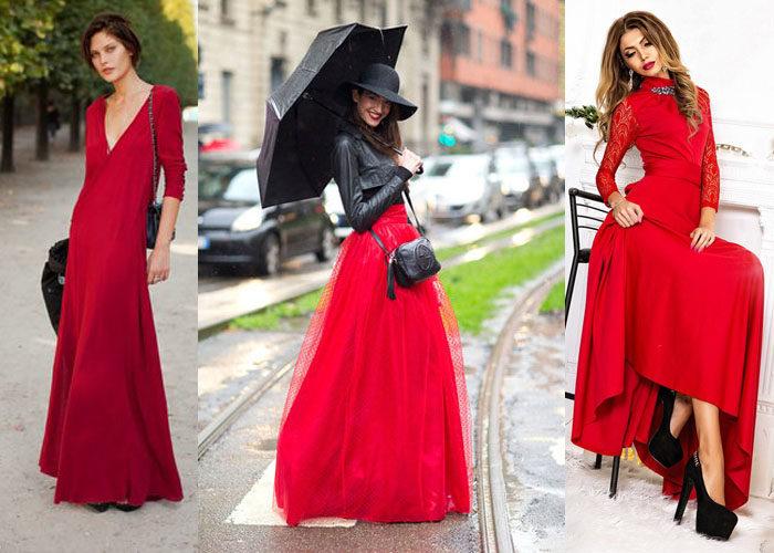 красное платье в пол, фото