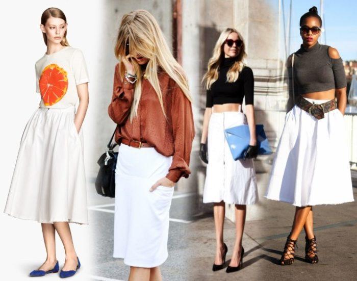 белая джинсовая юбка, фото