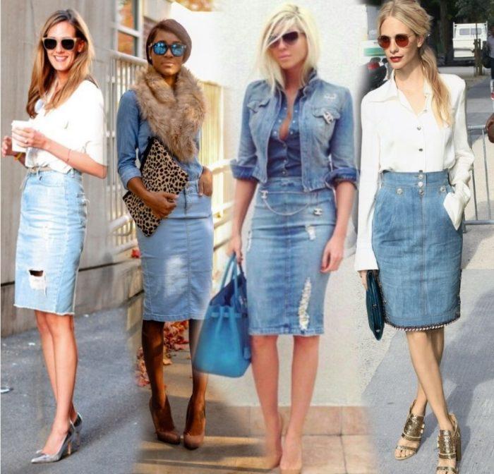 джинсовая юбка - карандаш, фото