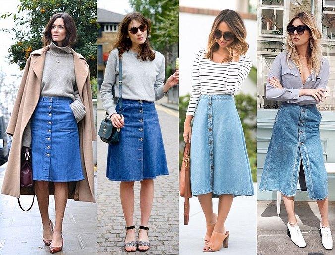 джинсовая юбка с пуговицами, фото