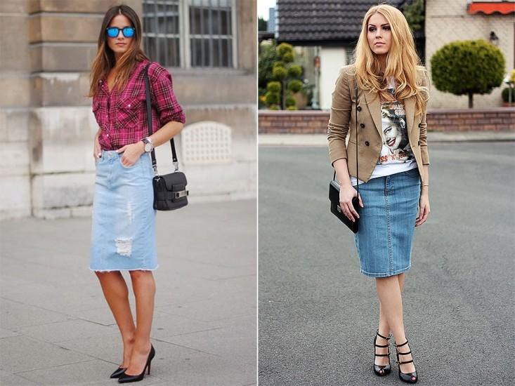 99eeb14a622 С чем носить джинсовую юбку  более 100 фото для модных образов