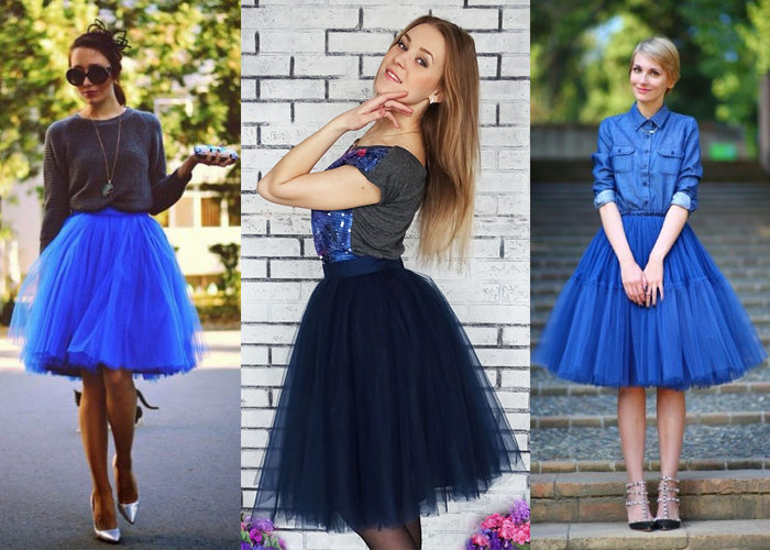 синяя юбка - пачка, фото