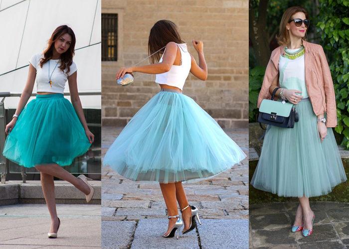 бирюзовая юбка - пачка, фото