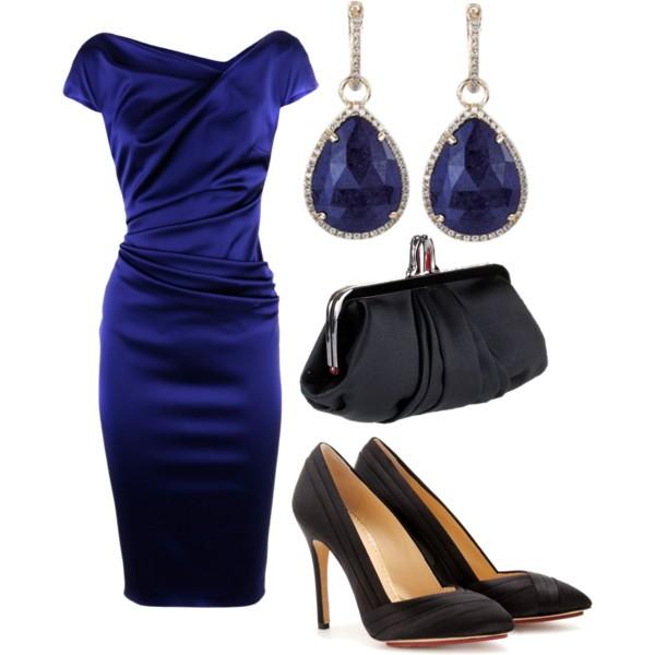 синее платье футляр, фото