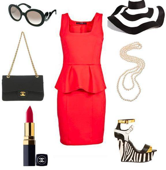 красное платье футляр, фото