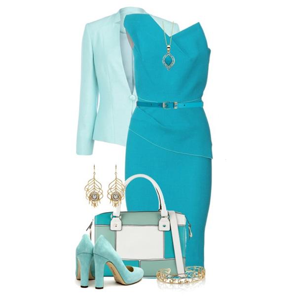 голубое платье футляр, фото