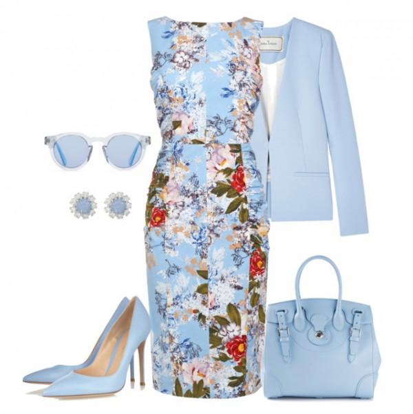 Что одеть под голубое платье в цветах