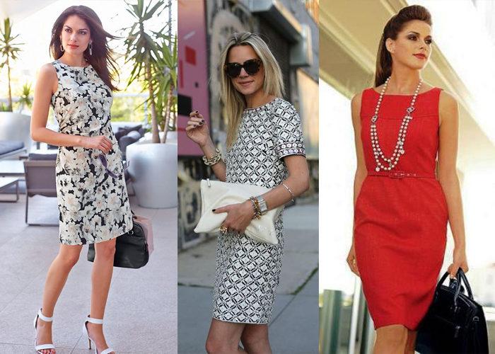 модные образы с платьем - футляр, фото