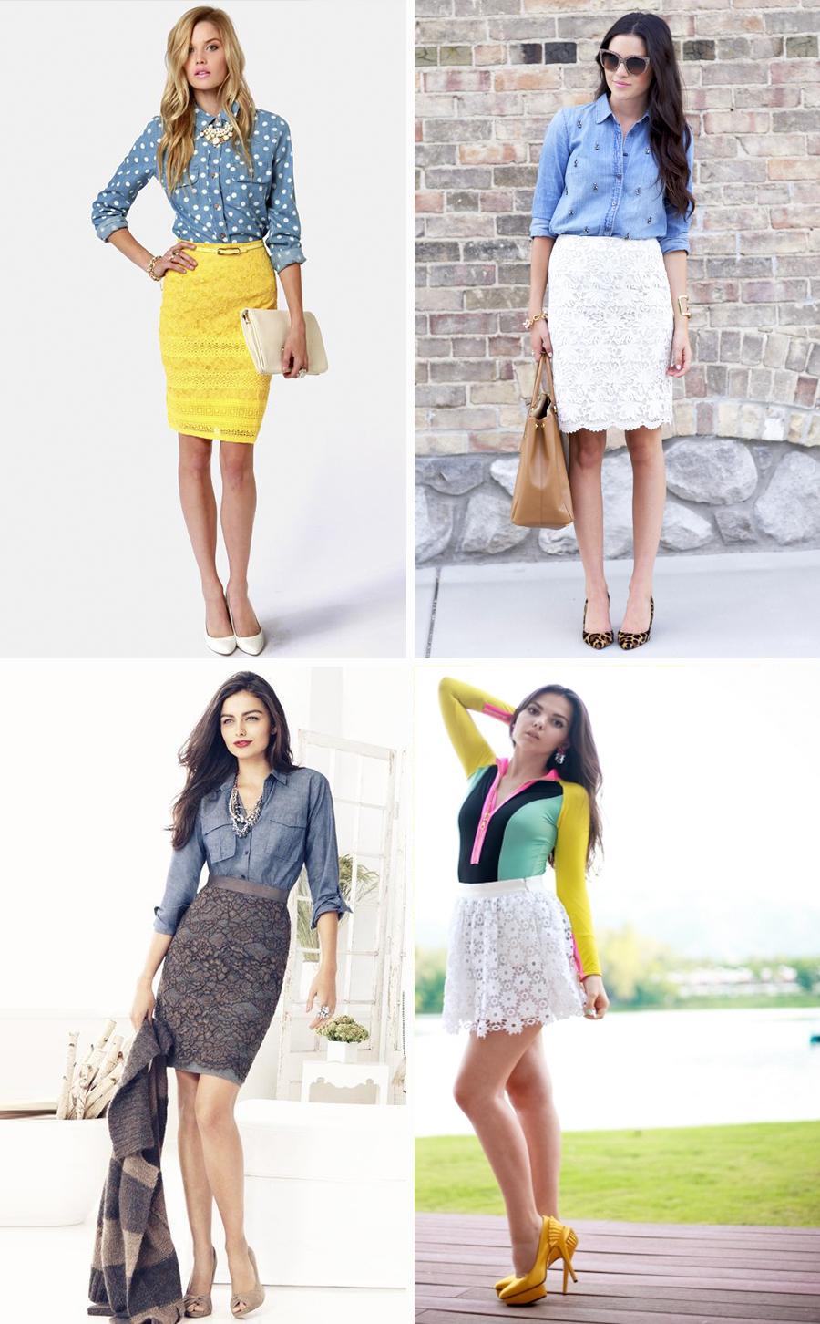 желтая, коричневая кружевная юбка, фото