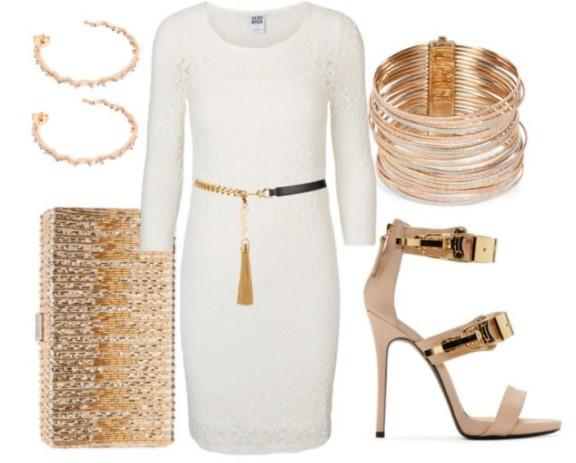 белое платье с золотыми аксессуарами, фото