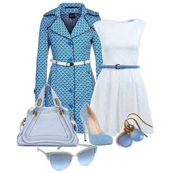 Небесно голубое платье с чем носить