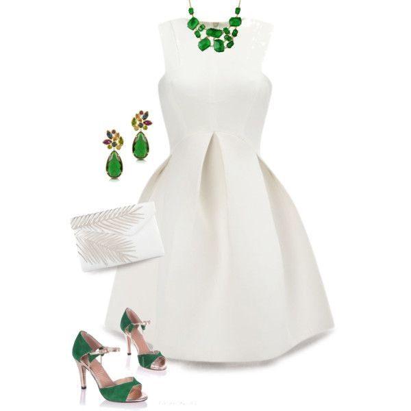 белое платье с зелеными аксессуарами, фото