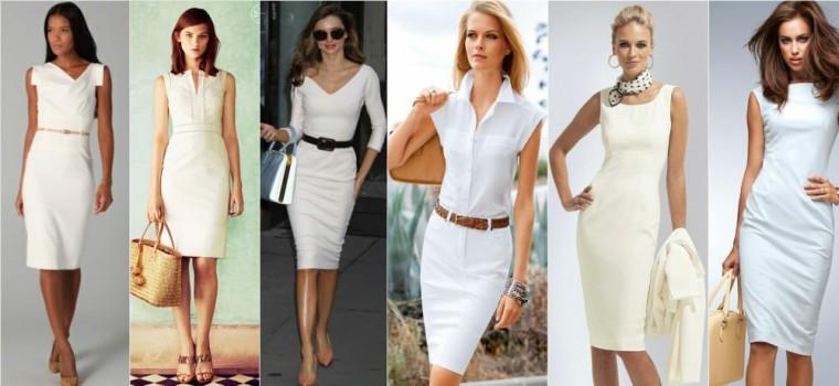 белое платье - футляр, фото