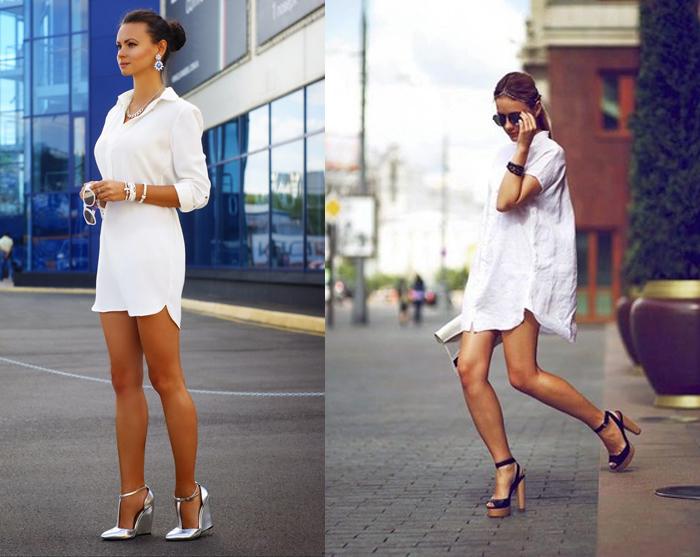 белое платье - рубашка, фото