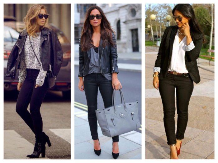 с чем носить черные узкие джинсы, фото