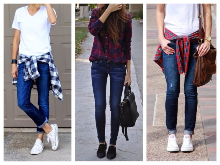 с чем носить синие узкие джинсы, фото