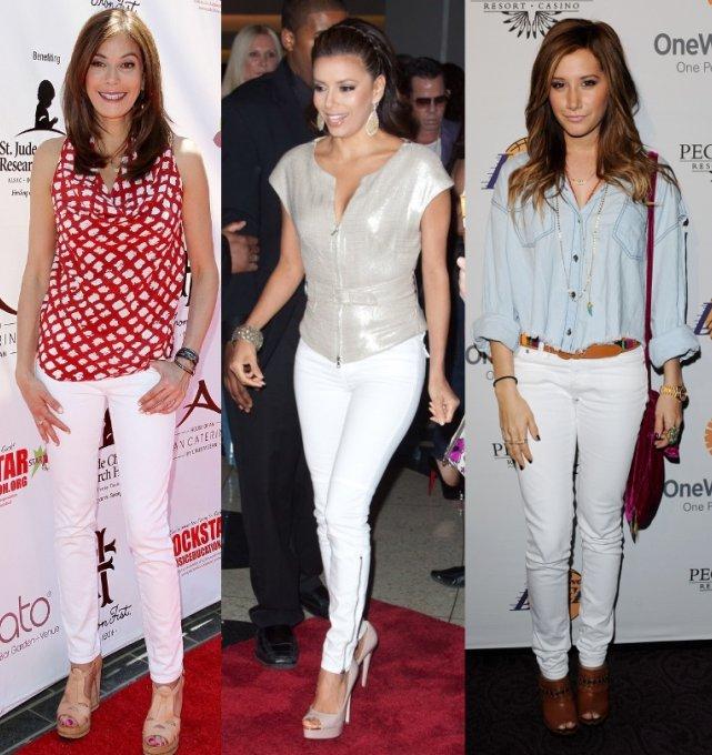с чем носить белые узкие джинсы, фото