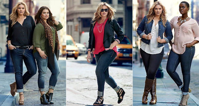 с чем носить узкие джинсы для полных, фото