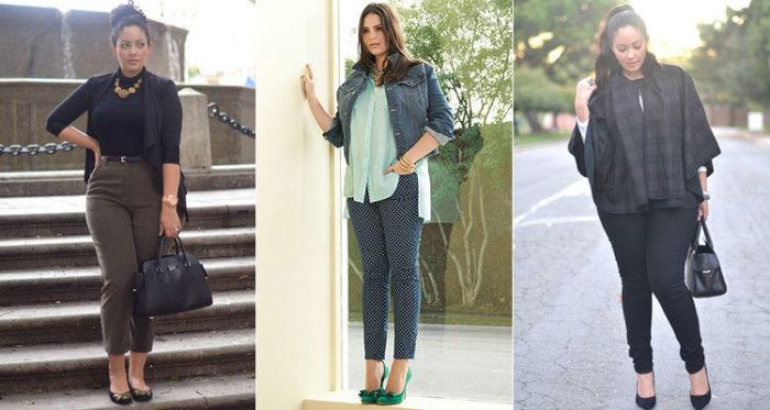 узкие брюки для полных женщин, фото