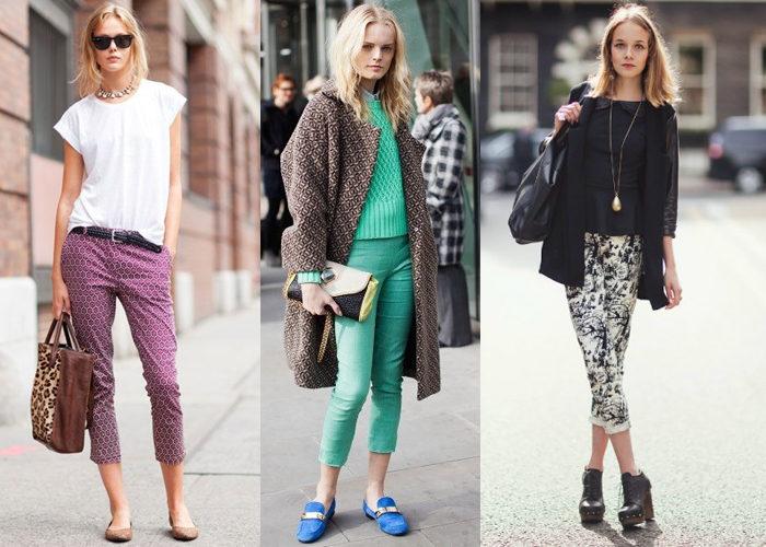 укороченные узкие брюки, фото