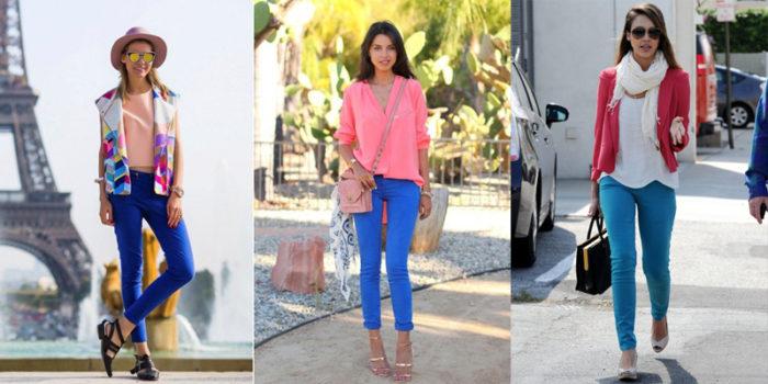 синие и голубые узкие брюки, фото