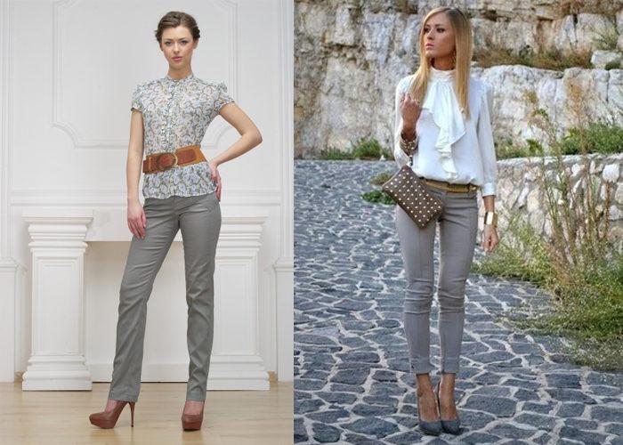 узкие серые брюки, фото