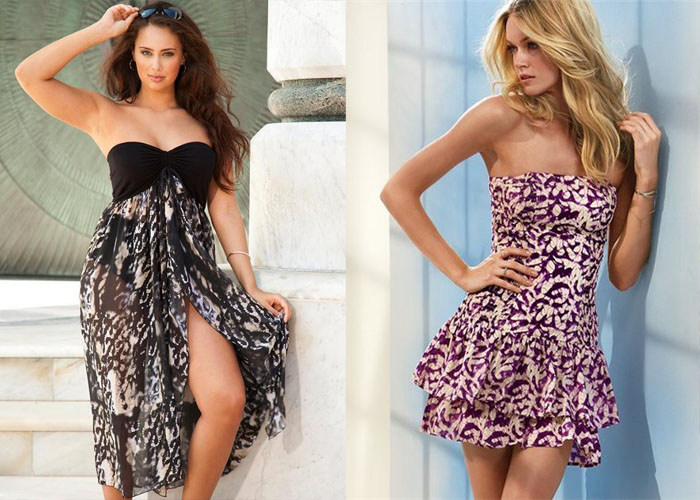 летние платья без бретелей, фото