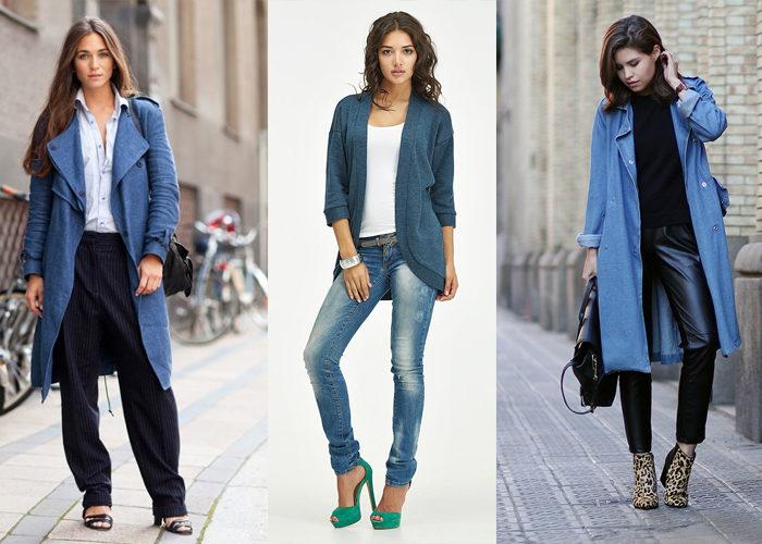 синий джинсовый кардиган, фото