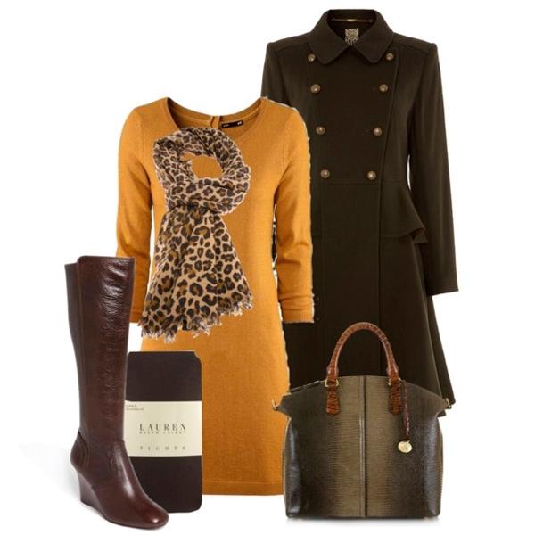коричневая сумка к коричневому пальто, фото