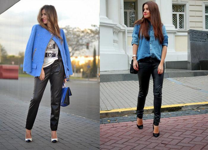черные кожаные брюки, фото