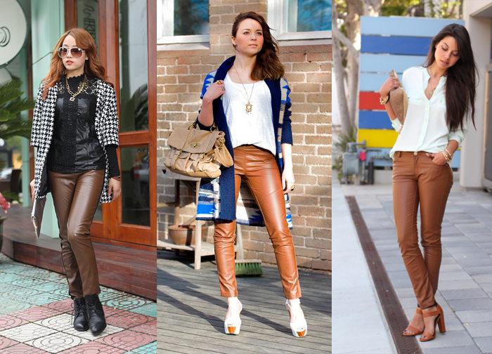 коричневые кожаные брюки, фото