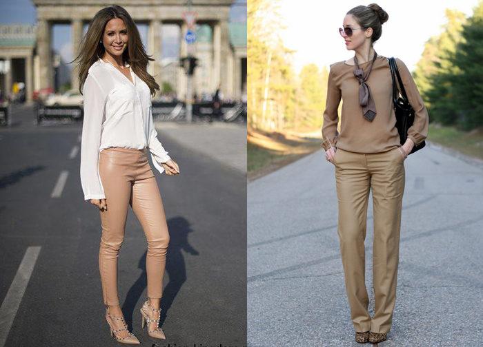 бежевые кожаные брюки, фото