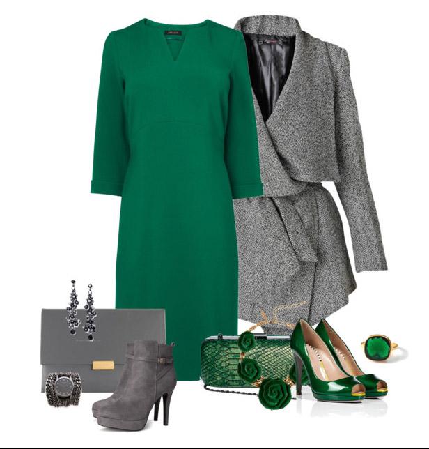 зеленое платье футляр, фото