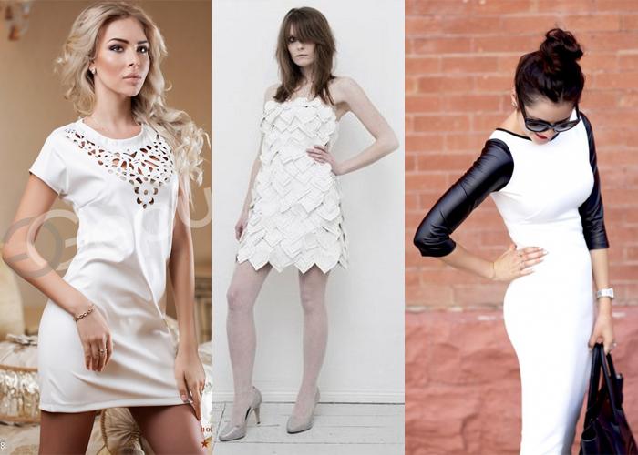 белое кожаное платье, фото