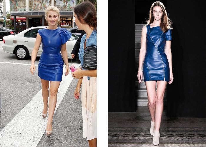 синее кожаное платье, фото