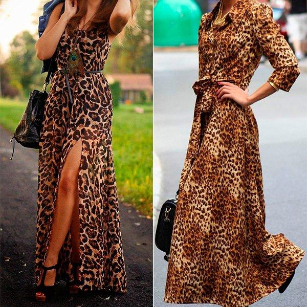 с чем носить платье с леопардовым принтом в пол, фото
