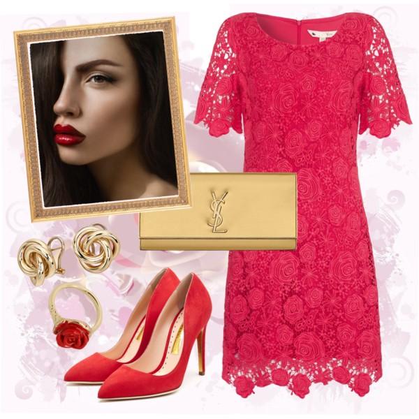 кружевное красное платье, фото