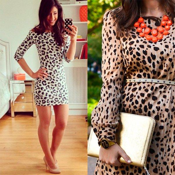 украшения к леопардовому платью, фото