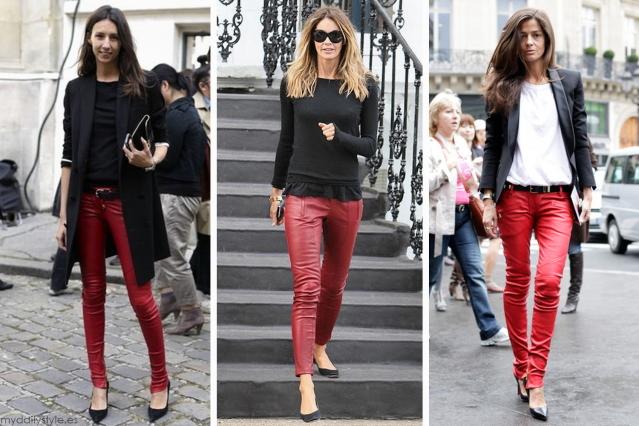 красные кожаные брюки, фото