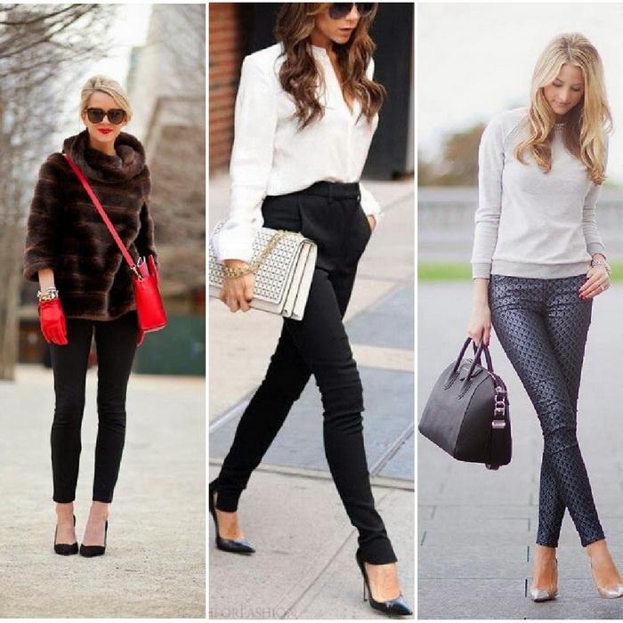 С чем можно носить узкие черные джинсы