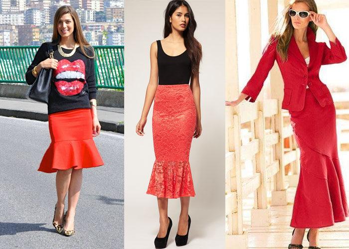 красная юбка годе, фото