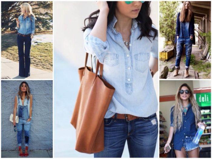 Сочетание джинсов с другой одеждой