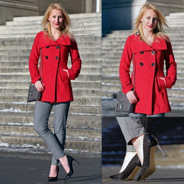 С чем носить красное пальто - идеи с фото, советы стилистов