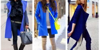 С чем носить синее пальто от нежных пастельных до темных оттенков?
