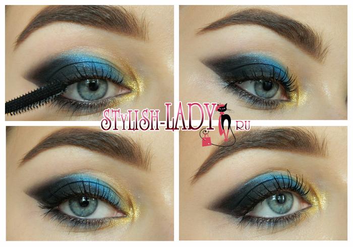 темно-синий макияж глаз