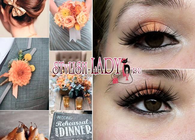 Макияж с оранжевыми тенями для карих глаз